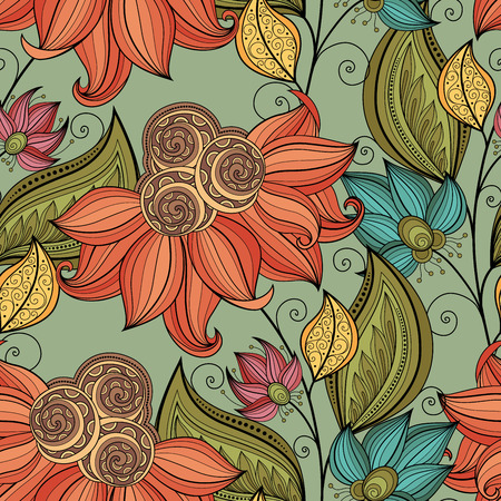 Photo pour Vector Seamless Floral Pattern. Hand Drawn Floral Texture, Decorative Flowers, Coloring Book - image libre de droit