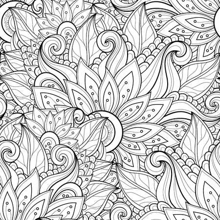 Vector Seamless Monochrome Floral Pattern. Hand Drawn Floral Texture, Decorative Flowers, Coloring Bookのイラスト素材