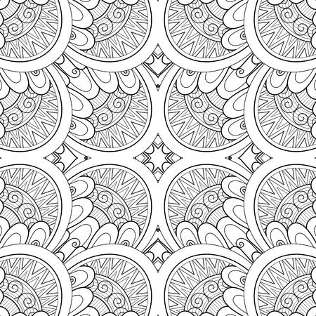 Illustration pour Monochrome Seamless Tile Pattern, Fancy Kaleidoscope. Endless Ethnic Texture with Abstract Design Element. Art Deco, Nouveau, Paisley Garden Style. Coloring Book Page. Vector Contour Illustration - image libre de droit