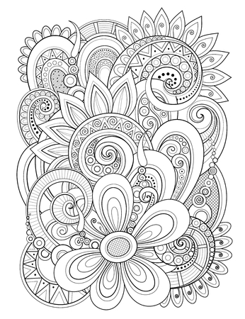 Illustration pour Monochrome Floral Design Element in Doodle Line Style. Decorative Composition with Flowers and Leaves. Elegant Natural Motif. Coloring Book Page. Vector Contour Illustration. Abstract Ornate Art - image libre de droit