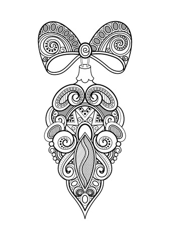 Illustration pour Monochrome Ornate Christmas Decoration, Happy New Year. Cone with Bows on Beads. Holiday Object in Doodle Line Style for Greeting Card. Coloring Book Page. Vector Contour Illustration - image libre de droit