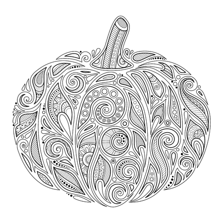 Ilustración de Monochrome Decorative Pumpkin. Fall Plant with Paisley Floral Ornament. Design Element for Thanksgiving and Halloween Holidays. Coloring Book Page. Vector Contour Illustration. Abstract Ornate Art - Imagen libre de derechos