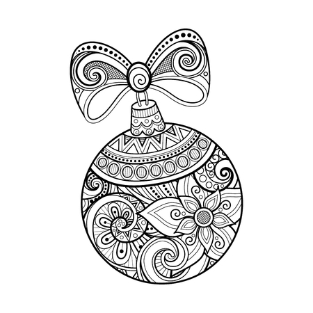 Illustration pour Monochrome Ornate Christmas Decoration, Happy New Year. Ball with Bow, Floral Ornament. Holiday Objects in Doodle Line Style for Greeting Card. Coloring Book Page. Vector Contour Illustration - image libre de droit