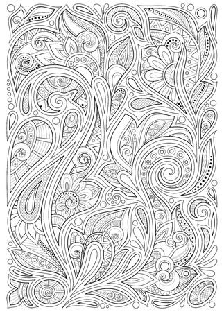 Monochrome Floral Background in Paisley Garden Indian Style. Decorative Composition with Flowers. Natural Doodle Motifs. Coloring Book Page. Vector Contour Illustration. Abstract Ornate Art