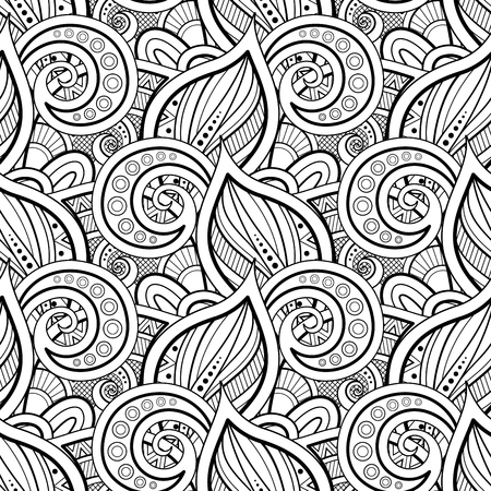 Illustration pour Monochrome Seamless Pattern with Floral Motifs. Endless Texture with Leaves and Swirls. Natural Background in Doodle Style. Coloring Book Page. Vector Contour Illustration. Abstract Ornate Art - image libre de droit