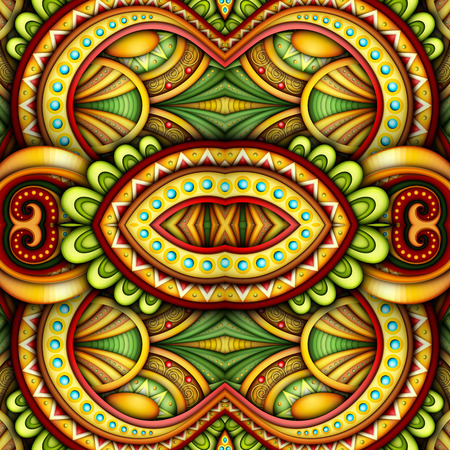 Illustration pour Colored Seamless Tile Pattern, Fantastic Kaleidoscope. Endless Ethnic Texture with Abstract Design Element. Khokhloma, Gypsy, Paisley Garden Style. Realistic Glossy Ornament. Vector 3d Illustration - image libre de droit