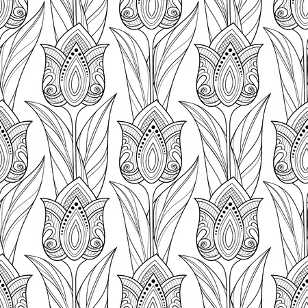Illustration pour Monochrome Seamless Pattern with Tulips, Floral Motifs. Endless Texture with Flowers, Leaves and Swirls. Batik, Paisley Garden Style. Coloring Book Page. Vector Contour Illustration. Abstract Art - image libre de droit