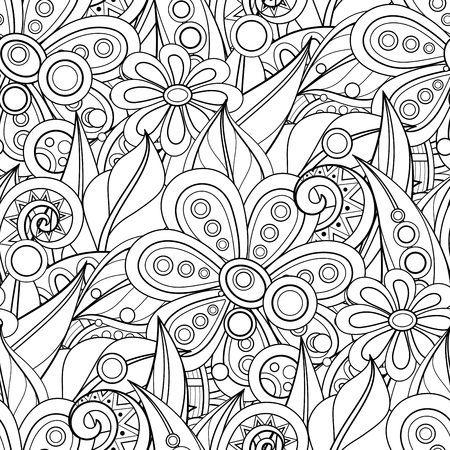 Illustration pour Monochrome Seamless Pattern with Floral Motifs. Endless Texture with Flowers, Leaves etc. Natural Background in Doodle Line Style. Coloring Book Page. Vector Contour Illustration. Abstract Art - image libre de droit