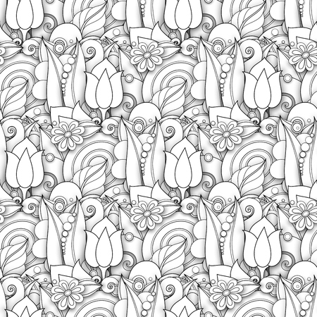 Illustration pour Monochrome Seamless Pattern with Floral Motifs. Endless Texture with Flowers, Leaves etc. Natural Background in Doodle Line Style. Coloring Book Page. Vector 3d Contour Illustration. Abstract Art - image libre de droit