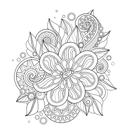 Illustration pour Monochrome Floral Illustration in Doodle Style. Decorative Composition with Flowers, Leaves and Swirls. Elegant Natural Motif. Coloring Book Page. Vector Contour Art. Abstract Design Element - image libre de droit