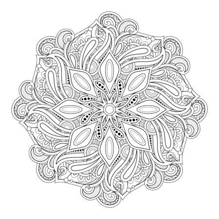 Illustration pour Monochrome Beautiful Decorative Mandala. Paisley Indian Symbol. Yoga, Meditation Design Element. Coloring Book Page, Art Therapy. Vector Contour Illustration - image libre de droit