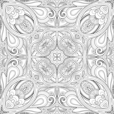 Ilustración de Monochrome Seamless Pattern with Mosaic Motif. Endless Floral Texture in Paisley Indian Style. Tile Ethnic Background. Coloring Book Page. Vector Contour Illustration. Abstract Mandala Art - Imagen libre de derechos
