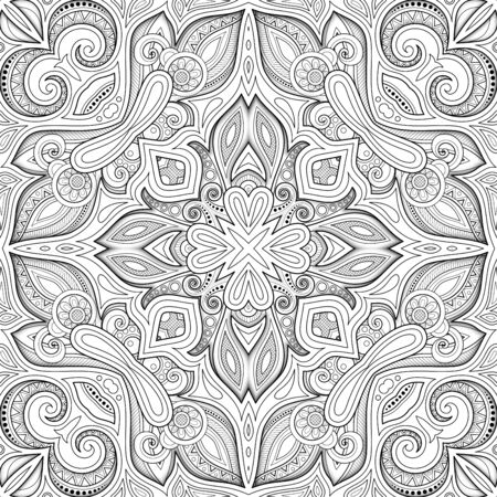 Illustration for Monochrome Seamless Pattern with Mosaic Motif. Endless Floral Texture in Paisley Indian Style. Tile Ethnic Background. Coloring Book Page. Vector 3d Contour Illustration. Abstract Mandala Art - Royalty Free Image