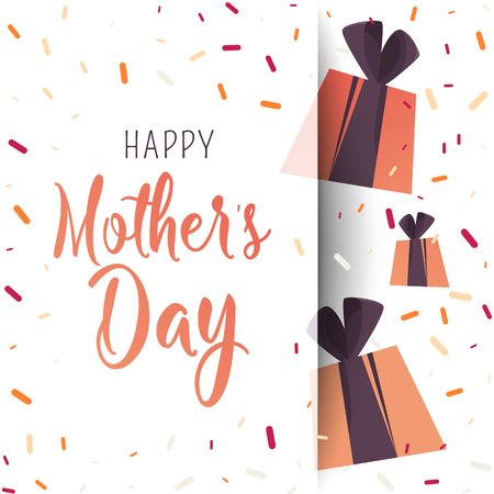 Illustration for Happy Mother Day poster. Flat gifts with confetti. Trendy Design Template. - Royalty Free Image