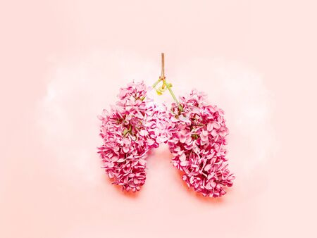 Photo pour Medical concept of pink lilac flowers shaped in human lungs on pink background. Flat lay, top view. Harm of smoking - image libre de droit