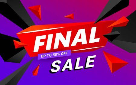 Illustration pour Final sale banner design editable template. Big sale, special offer, discounts. Vector illustration. - image libre de droit