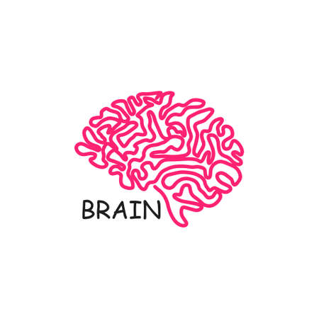 Illustration pour Human brain vector icon illustration isolated on white background. Innovation symbol, idea, thoughts, thinking, solution, education concept - image libre de droit