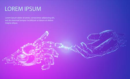 Illustration pour Robot arm and hand human, touch - image libre de droit