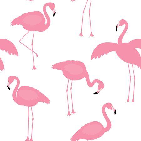 Illustration pour Vector illustration pink flamingo bird seamless pattern - image libre de droit