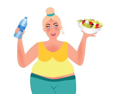 Ilustración de Losing weight. Full girl holds salad and water. Healthy lifestyle. Proper diet. Vector illustration - Imagen libre de derechos