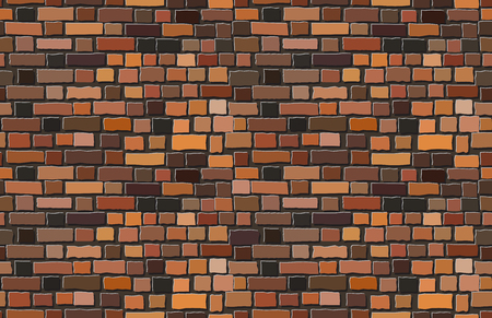 Illustration for Vector terracotta old brick wall background. Seamless pattern - Royalty Free Image