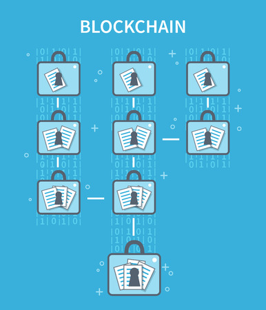 Blockchain explanation concept illustration. Vector flat line infographic.