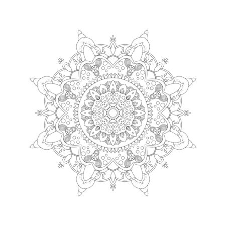 Illustration pour Mandala. Coloring book antistress. Template for mehendi. Oriental drawing. Islam, Arabic, Indian, Moroccan, Spanish, Turkish, Pakistani, Chinese. Vector illustration. Isolated on a white background. - image libre de droit