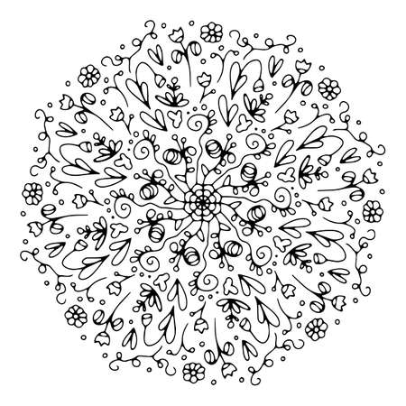 Illustration pour Mandala. Antistress coloring book. Template for mehendi. Oriental drawing. Vector illustration. Isolated on a white background. - image libre de droit