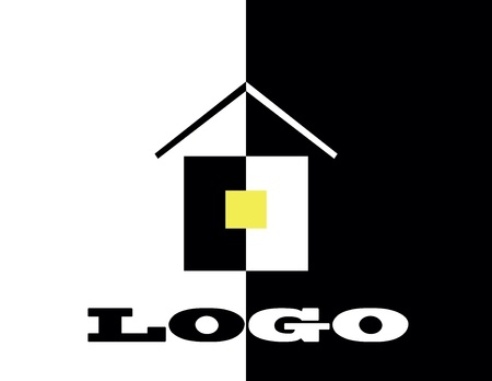 logo hause on black and white color with yellow windows