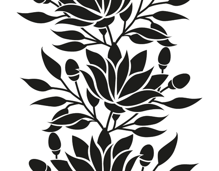 Vector floral seamless border with flowers and leaves stylized frame or background