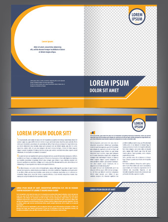 Vector empty brochure template design with orange and dark blue elements