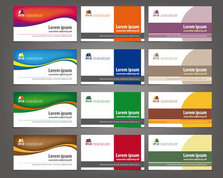Set of 12 professional and designer horizontal business cards or visiting cards