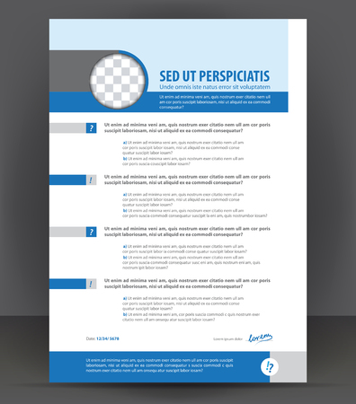 Vector resume print design template, cv blank example, blue ...