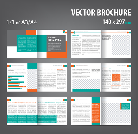 Vector empty bi-fold brochure print template design, bifold bright orange green booklet or flyer, 12 pages