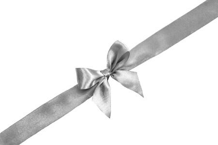 Photo pour Silver bow isolated on white background. Silk ribbon, silk bow. - image libre de droit