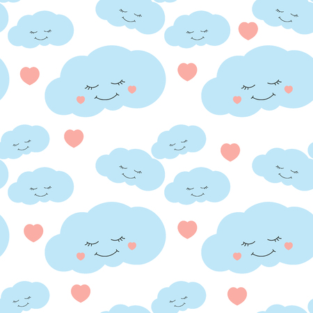 Cute Baby Cloud Pattern Vector Seamless Children Print With Eyelash Clouds And Hearts On White Background Design For Kids Birthday Card Wallpaper Or Fabric Baby Shower Invitation Template Royalty Free Vector Graphics