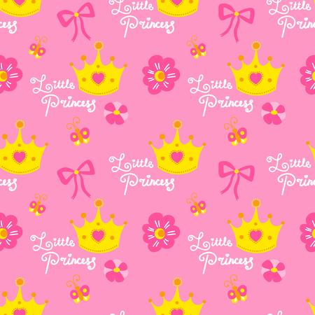 Pink Little Princess Pattern Vector Cute Background For Template Birthday Card Baby Shower Invitation Wallpaper And Fabric Baby Girl Print With Crowns Hearts Flowers Bows And Butterflies Royalty Free Vector Graphics