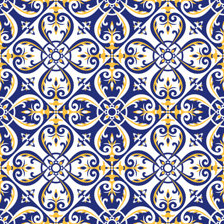 Illustration for Portuguese tiles pattern vector with blue, yellow and white ornaments. Azulejos, mexican talavera, italian majolica or spanish motifs. Flooring print for ceramic porcelain wall or fabric design. - Royalty Free Image