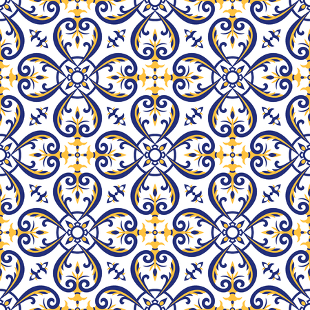 Ilustración de Mexican tiles pattern vector with blue, yellow and white ornaments. Portuguese azulejos, talavera, italian majolica or spanish motifs. Flooring print for ceramic porcelain wall or fabric design. - Imagen libre de derechos