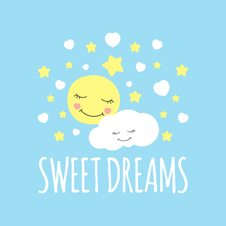 Illustration pour Cute moon with cloud print vector. Sweet dream background. Design for bed sleeping poster, pillow illustration, fashion patches stickers, t-shirt apparel clothing or children fabric. - image libre de droit