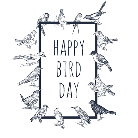 Illustration pour Set of hand drawn birds. Passerine. International Bird Day card. Black and white vector background. - image libre de droit