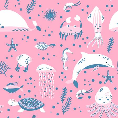 Illustration pour Sea life. Underwater world. Fish, jellyfish, sea bottom, backwaters ship, algae, treasure. Vector flat illustrations and icon set - image libre de droit