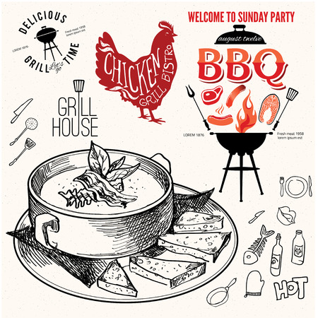soup hand drawn. Chicken label sketchy illustration design eps 10