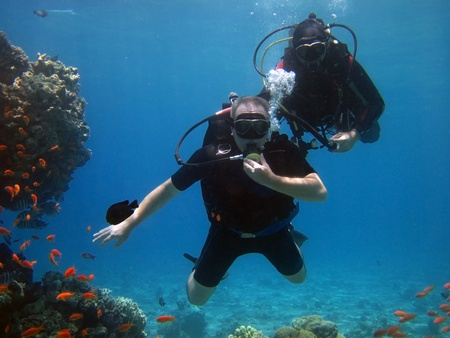 two adult scuba divers in the Red Sea