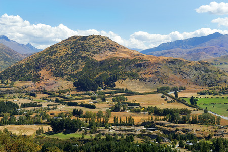 picturesque rural landscape on a mountains in New Zealand