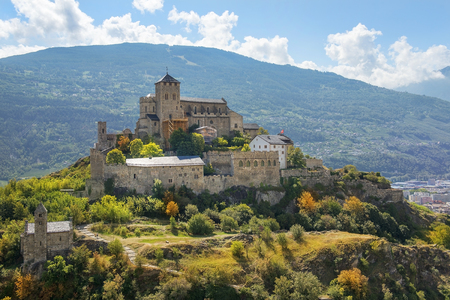 view of the Valere Basilica, an ancient fortified church in Sion, Canton of Valais, Switzerland