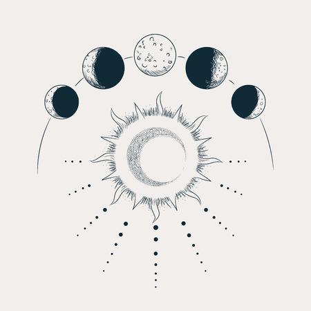Illustration pour Vector illustration set of moon phases. Engraving style - image libre de droit