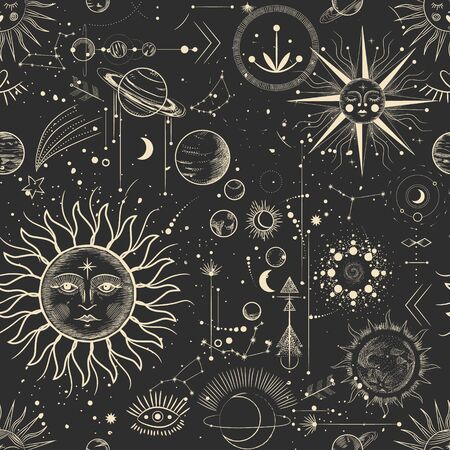 Illustration pour Vector illustration set of moon phases. Different stages of moonlight activity in vintage engraving style. Zodiac signs - image libre de droit