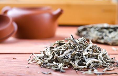 Photo pour Chinese pressed white tea, silver needle. Selective focus - image libre de droit