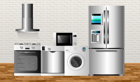 Vector illustration against the background of a brick wall. Kitchen home appliances on a wooden floor. Household technics: washing machine, dishwasher, electric oven, extractor hood, microwave and refrigerator